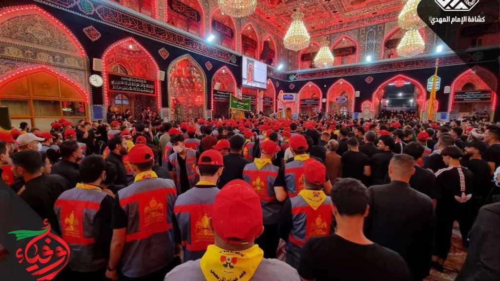 وفد خُدام زوار الإمام الحُسين (عليه السلام) يُباشر خدمته الإسعافية داخل الحرم المُقدَّس